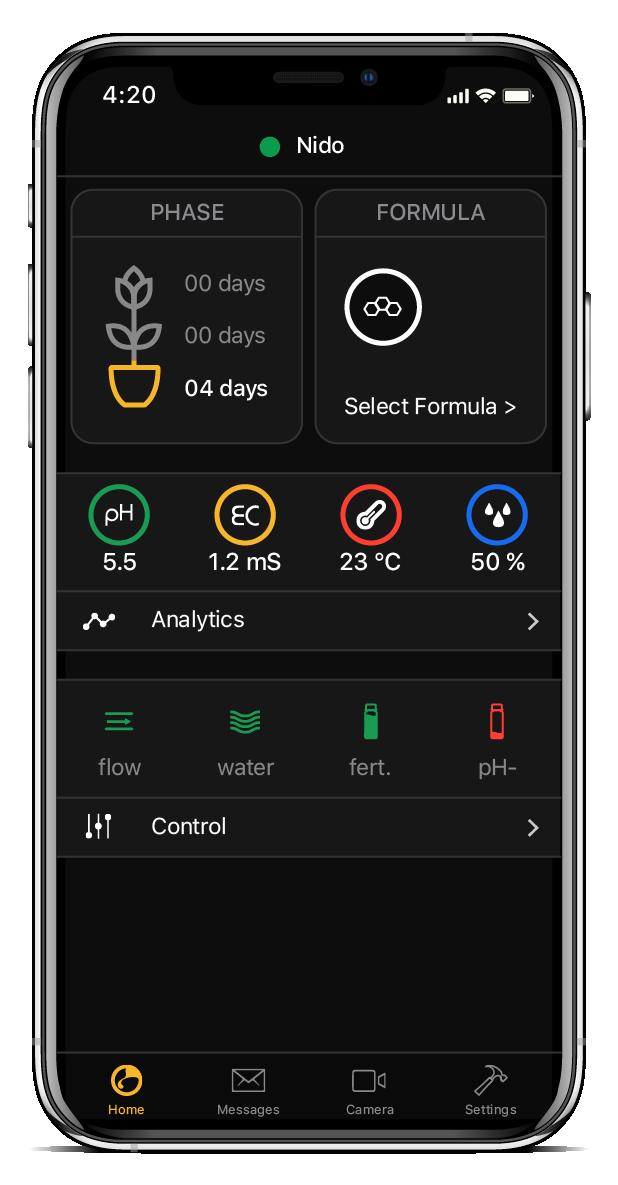 Home dell' app per la coltivazione di NIDO