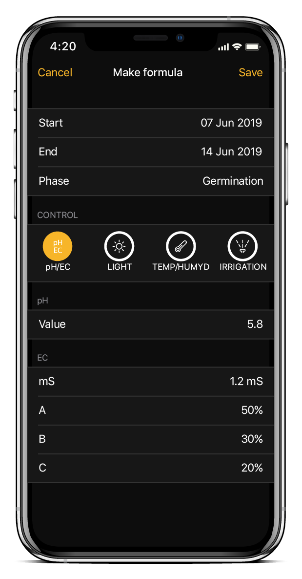 Personalizza la formula dell' app per la coltivazione di NIDO